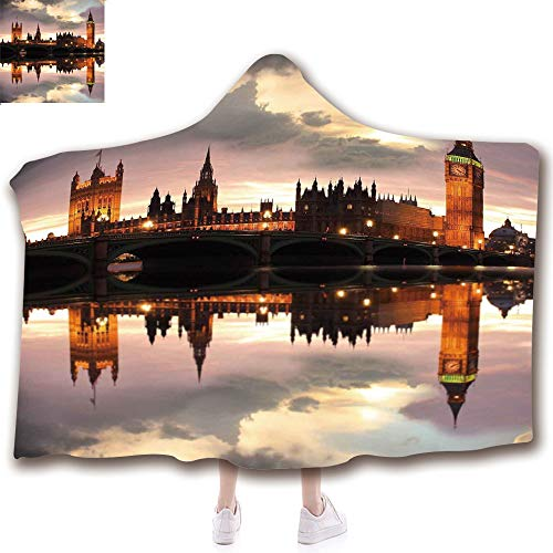 Fashion Blanket Ancient China Decorations Blanket Wearable Hooded Blanket,Unisex Swaddle Blankets for Babies Newborn by,Ben London Historical Architecture British Town UK,Adult Style Children Style