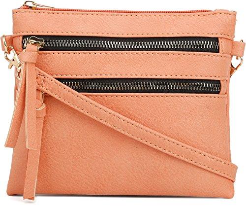 DELUXITY | Crossbody Wristlet Bag | Functional Multi Pocket Double Zipper Purse | Adjustable & Detachable Strap | Small Size Purse | Mandarin