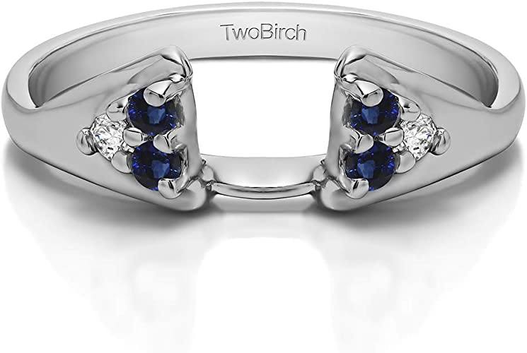 0.25Ct G,I2 Size 3 to 15 in 1//4 Size Interval TwoBirch Sterling Silver Round Chevron Wedding Wrap With Diamonds