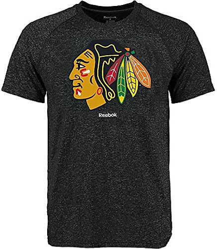Chicago Blackhawks Reebok Heather Black Ultimate Jersey Crest Short Sleeve Synthetic T Shirt (Large) ()