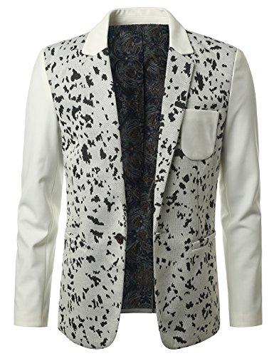 MONDAYSUIT Men's One-Button Fashion Blazer Animal Print WHITE Jacket - LARGE