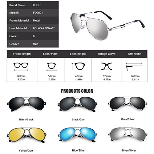 f0ac7da3a ... FEIDU Mens Polarized Aviator Sunglasses Metal Frame Unisex Sun Glasses  FD9001 (Silver/Silver, ...