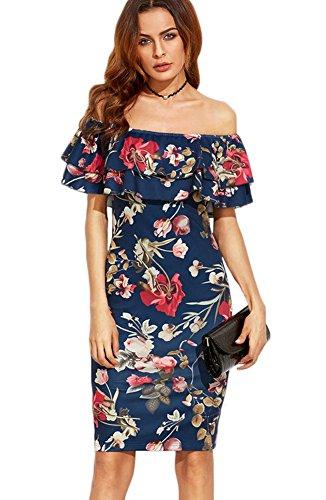 Minetom Verano Mujeres Fuera Del Hombro Mini Vestido Retro Palacio Fuera Del Hombro Flores Impreso Hoja De Loto Atractivo Elegante Moda Azul