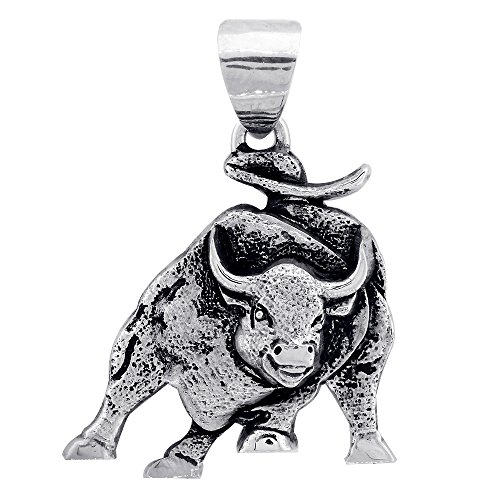 (Sziro Hardcore Metal Wall Street Charging Bull Pendant Charm with Black in Sterling Silver)