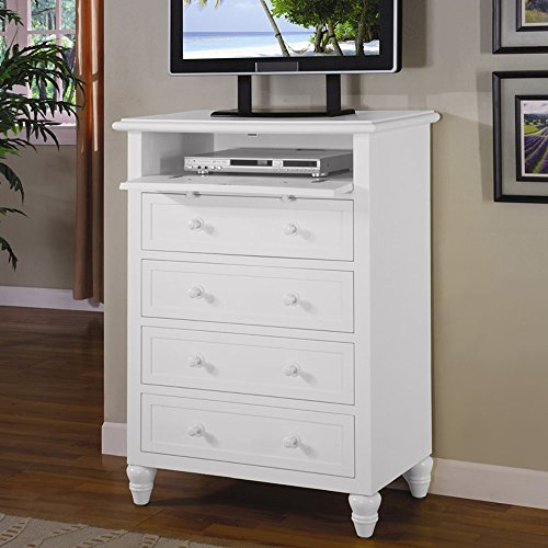 Oceanside Cape Cod style White Wood 5 Drawer Chest and TV Stand by Seawinds Trading - Comes fully assembled (Cod Bedroom Cape Furniture White)