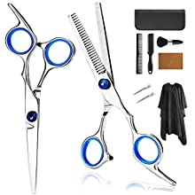 Hair Cutting Scissors Set, 10PCS Professional Stainless Steel Haircut Kit Cutting Scissors, Thinning/Texturizing Shears, Hair Razor Comb, Barber/Salon/Home Hairdressing Shears Kit w/ Cape Leather Case