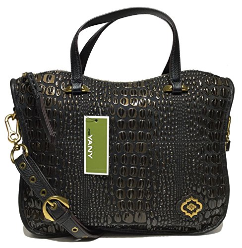 orYANY Woman's Leather Satchel, Embossed Black/Chocolate ()