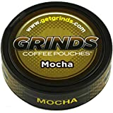 Grinds Coffee Pouches - 6 Cans - Mocha - Tobacco Free, Nicotine Free Healthy Alternative
