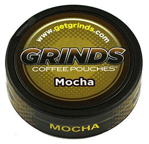 Grinds Coffee Pouches - 3 Cans - Mocha - Tobacco Free, Nicotine Free Healthy Alternative