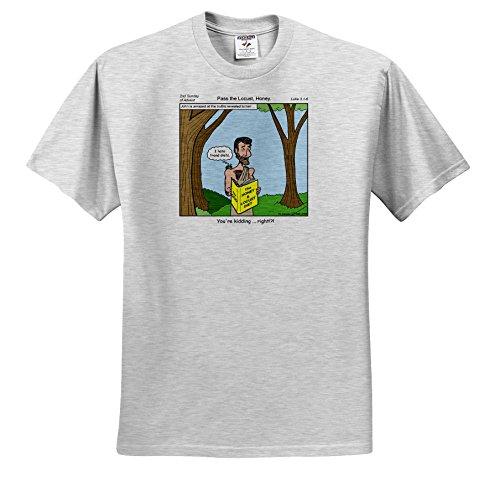 - Rich Diesslins Funny Cartoon Gospel Cartoons - John the Baptist - Pass the Locust Honey - T-Shirts - Adult Birch-Gray-T-Shirt XL (ts_2619_21)
