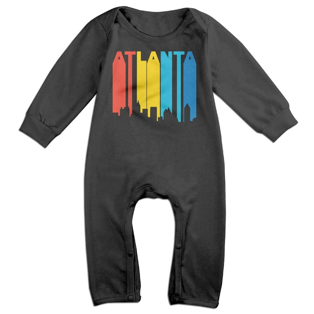 UGFGF-S3 Retro 1970S Style Atlanta Georgia Skyline Long Sleeve Infant Baby Unisex Baby Bodysuit for 6-24 Months Bodysuit