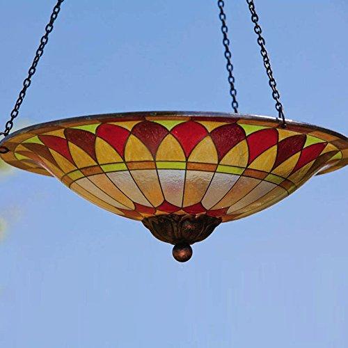 "Zomma Evergreen Tiffany-Inspired Hanging Glass Bird Bath Bowl - 13.5""L x 13.5"" W x 22.75"" H"