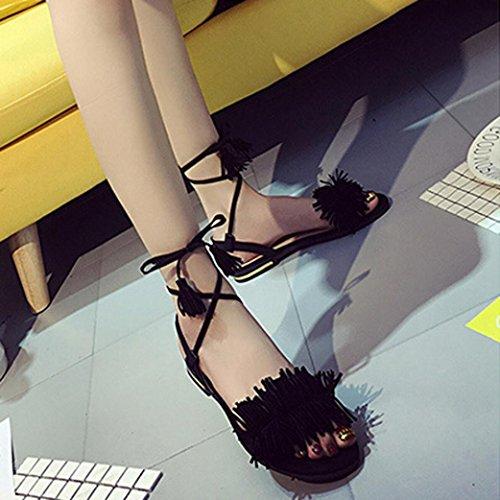 HARRYSTORE 2017 Las mujeres del verano de la manera tiranizan los zapatos de la borla de los zapatos de la hebilla de la cruz Negro