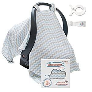Baby Car Seat Covers - Super Soft Infant Carseat Canopy - Stroller Cover - Perfect Baby Shower Gift For Boys & Girls - 2 Adjustment Clips - 100% Cotton Muslin