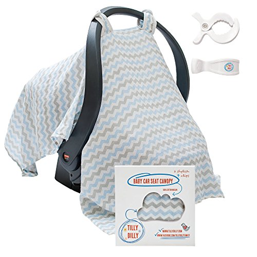 Moo Swaddle (Baby Car Seat Covers - Super Soft Infant Carseat Canopy - Stroller Cover - Perfect Baby Shower Gift For Boys & Girls - 2 Adjustment Clips - 100% Cotton)