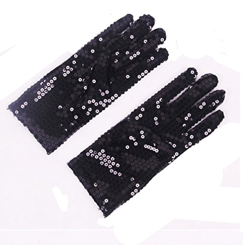FinalZ 1 Pair Child Costume Dress up Dance Sequin Cosplay Party Halloween Gloves (Black Or White Costume Michael Jackson)