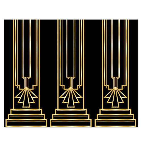 luckybuy168 US Art Deco GREAT GATSBY 20s COLUMN BACKDROP Party Decoration PHOTO PROP Booth (Gatsby Backdrop)
