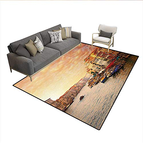 (Floor Mat,Venezia City Italian Landscape with Old Ancient Houses Gondollas and Spikes Image,Rugs for Bedroom,MulticolorSize:6'x8')