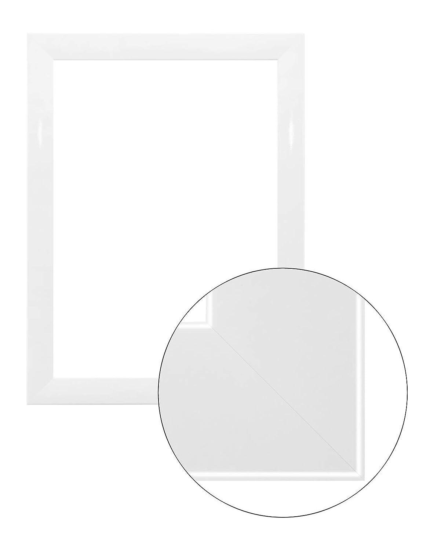 Framo36 Luxus 85 cm x 130 cm MDF Holz Bilderrahmen in Farbe Weiß Hochglanz