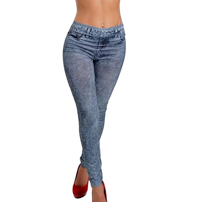 1b2060509d7 Women Jeggings Denim Snowflake Skinny Stretch Sexy Pants Long Ladies Soft  Tights Gym Leggings Jeans Look (Blue