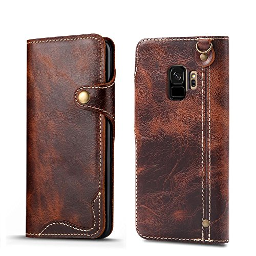 Galaxy S9 Case, Bpowe Lightweight Ultrathin Genuine Leather Cover Card Holder Strap attachment Magnet snap type anti-shock full Surface Protection Case for Samsung Galaxy S9 (Brown)