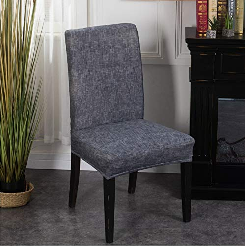 Elastic Dining Room Chair Cover Banquet Chair Protector Easy Removable Washable Seat Slipcover (Dark Grey)
