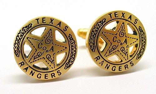 Men's Executive Cufflinks Gold Tone Texas Ranger Lone Star Badge Cuff (Texas Rangers Cufflinks)