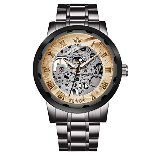 Watch,Mens Watch,Luxury Classic Skeleton Mechanical Stainless Steel Watch with Link Bracelet,Dress Automatic Wrist Hand-Wind Watch (BlackGold2)