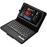 """AGPtek® 2 in 1 Waterproof Wireless Bluetooth Removable Keyboard + Protective PU Stand Case Cover For For Kindle Fire 7 ,Black (Only fit Fire 7"""" 2015 release)"""