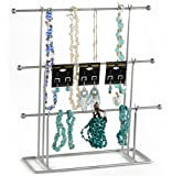Fixture Displays Set of 313.0 x14.0x4.5'' T-bar Jewelry Display for Bracelets and Chains, Steel-Silver 19333