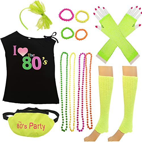 80s Costume Women and Accessories Set Fanny Pack Necklace Bangle Headband Leg(L, Green)
