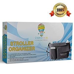 Stroller Organizer - Stroller, Bike, Car - Big Diaper Bag (11x6x5in) - Free E-Book