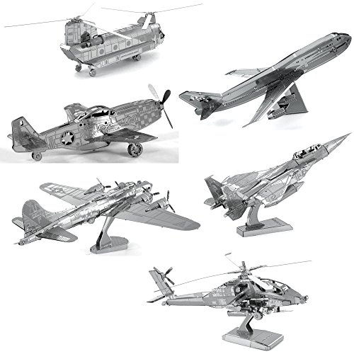 Metal Earth 3D Metal Model Kits – Boeing AH-64 Apache – P-51 Mustang – CH-47 Chinook – Commercial Jet – F-15 Eagle – B-17 Flying Fortress – 6 Piece Bundle