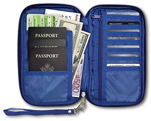 RFID Travel Passport & Document Organizer Zipper Case , Blue