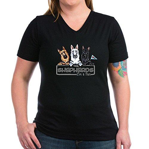 CafePress - German Shepherd Fan Women's V-Neck Dark T-Shirt - Womens Cotton V-Neck T-shirt - German Shepherd Merchandise