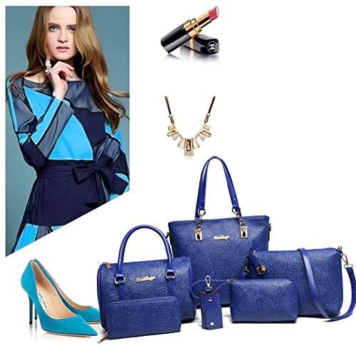 tracolla manici colore con con tracolla pezzi da donna Yisaesa a nero Borsa e tracolla blu 3 w1UpSxXq