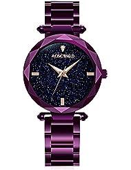 Waterproof watch Fashion Flickering Quartz Watches Women Leisure Steel Strip Rhinestone Wrist Watch (purple)