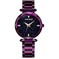 Waterproof watch Fashion Flickering Quartz Watches Women Leisure Steel Strip Rhinestone Wrist Watch Purple Lady Watches