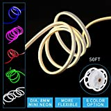 Led Mini Neon Lights, Shine Decor dimmable 3000K Warm white Rope Lights, 8MM Thickness, Update 2835 120Led/M, 110V, Included All Necessary Accessories, Flex Durable Super Bright For Outdoor Indoor Dec