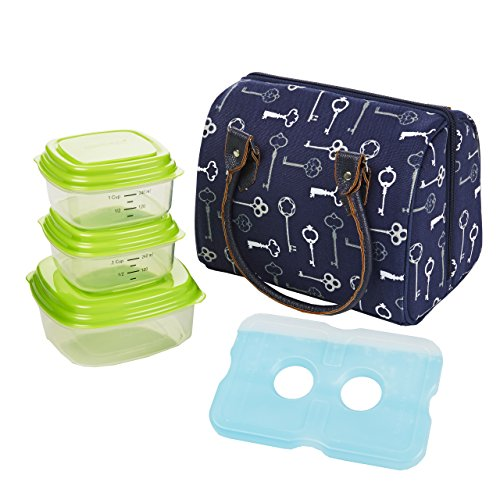 Fit & Fresh Jackson Women's Insulated Lunch Bag with Portion Control Container Set and Ice Pack, Complete Lunch Kit for Work and School, Navy Blue Keys