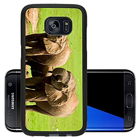 Luxlady Premium Samsung Galaxy S7 Edge Aluminum Backplate Bumper Snap Case IMAGE ID 31148621 a groupe wilde epephants in (Africa Expedition)