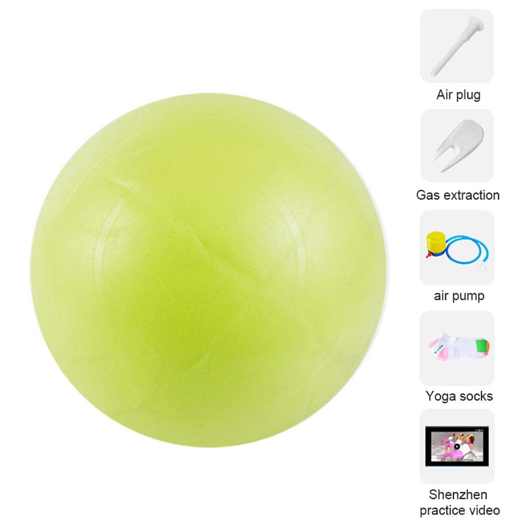 Exercise Ball Fitness Gym Ball, Anti-Burst & Anti-Slip with Quick Pump, Swiss Ball Perfect for Yoga Pilates Birthing Pregnancy Core Training Workout (Color : Green-65cm) by Unknown