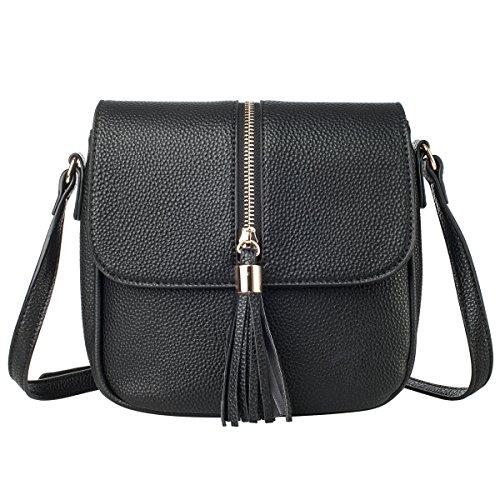 Black Leather Tassel Bag - 5