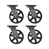 (Set of 4) 6'' CC Vintage Swivel Casters - Plate Mount - Black Cast Iron Wheels