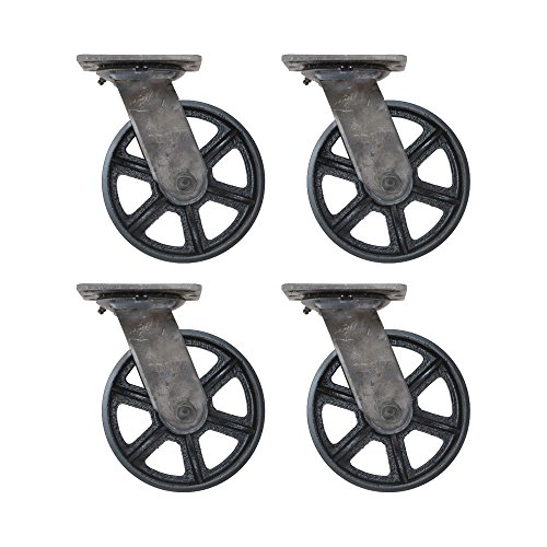 (Set of 4) 6'' CC Vintage Swivel Casters - Plate Mount - Black Cast Iron Wheels by CC Vintage