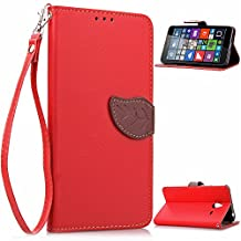 Microsoft 640 XL Case,Lumia 640 XL Case,YiLin [Kickstand] [Slim Fit] [Leaf Buckle] Premium Pu Leather Protective Case [Card Slot] with Stand Flip Cover for Microsoft Lumia 640 XL [Red]
