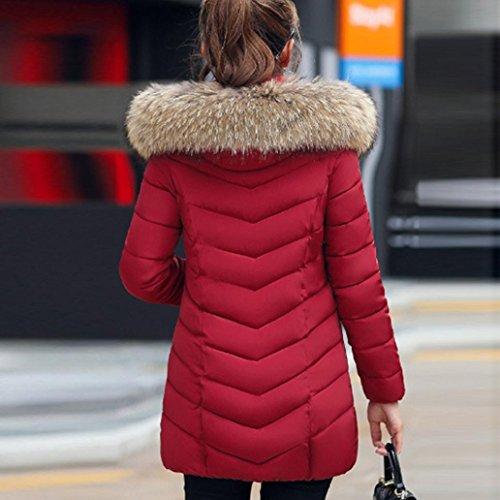 Donna Cappotto Manica Caldo Cappotto inverno BeautyTop Cappuccio giacca Colletto leggero Piumino Con Vino Lunga Down Autunno qpwpCd