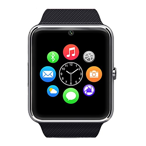 Smart Watch,Bluetooth Watch Wrist Watch Phone with SIM Card Slot and NFC for IOS Apple iPhone,Android Samsung HTC Sony LG Smartphones (Silver)