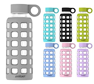 purifyou Premium Glass Water Bottle with Silicone Sleeve & Stainless Steel Lid Insert, 12 / 22 / 32 oz