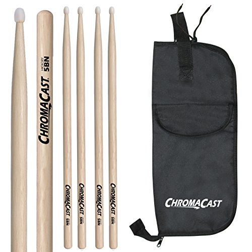 Custom Hickory Wood Tip Drumsticks (ChromaCast CC-5BN-3-BAG 5B USA Hickory 3 Nylon Tip Drumsticks Pairs with Bag)